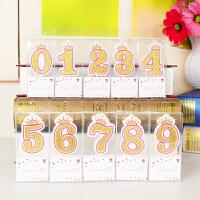 孩派 儿童生日蛋糕数字蜡烛 烘培新装饰 0-9周岁金色皇冠无烟石蜡