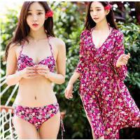 HMN 游泳衣女士性感裙式比基尼小胸聚拢三件套韩国温泉泳装