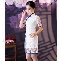 女童旗袍户外新款夏儿童中国风短袖童装连衣裙小孩蕾丝公主演出服修身新颖