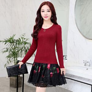 新款中长款女针织长袖连衣裙时尚韩版修身印花裙显瘦A字打底裙