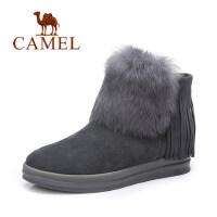 camel骆驼女鞋 秋冬新款流苏靴 时尚磨砂平底短靴兔毛女靴春秋单靴