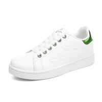滑板鞋 女士春秋季新款五角星舒适平底小白鞋韩版女式透气系带休闲学生运动鞋子.