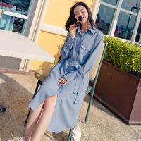 2018秋女士连衣裙长袖连衣裙秋装女2018新款显瘦中长款气质衬衫心机裙子设计感收 天蓝色