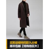 2018冬季新款韩版青年双面羊绒大衣男中长款落肩咖色毛呢子外套潮109
