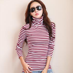 2017秋冬韩版新款女装大码纯棉保暖加厚长袖条纹女T恤高领打底衫