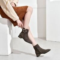 19珂卡芙冬季新款【金属圆扣】潮流粗跟百搭时装靴短靴流行女靴
