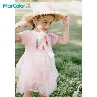 马卡乐童装2021夏季新款女童全棉趣味大图设计针织短袖连衣裙