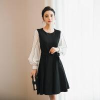 2018春装新款灯笼袖OL女装职业气质连衣裙黑白拼接收腰显瘦小黑裙 黑色