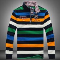 男士秋季冬季秋冬新立领长袖T恤针织衫男士打底衫大码条纹上衣polo衫
