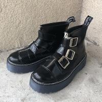 韩国ulzzang原宿风厚底皮带扣马丁靴女靴复古英伦风朋克学生短靴 黑色 35 (标准码)