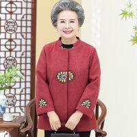 奶奶毛呢外套中老年人秋装女上衣洋气妈妈装绣花呢子老人衣服大码 L 建议80-95斤