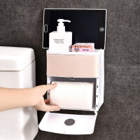 纸巾抽无痕贴卫生间收纳盒免打孔创意双层防水浴室纸巾盒厕所