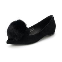 St&Sat/星期六 毛毛鞋尖头优雅低跟单鞋女SS83111173