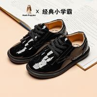 【超品�r:151.6元】暇步士童鞋�和�皮鞋2020秋季新款黑色�底中大童�r尚英���L皮鞋�W生鞋