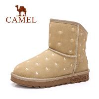 camel骆驼女鞋  短筒心印花舒适雪地靴磨砂 保暖短靴