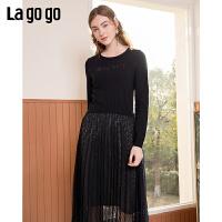 Lagogo/拉谷谷2020新款亮片字母刺绣装饰连衣裙女JALL751C45