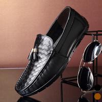 宜驰 EGCHI 男士鳄鱼纹皮鞋套脚驾车鞋KA8877