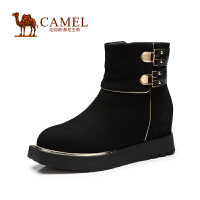 Camel骆驼女鞋 华贵优雅 圆头厚底内增高侧拉链牛巴戈女靴