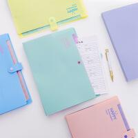 糖果色简约字母可爱笑脸a4文件夹多层风琴包收纳资料袋小清新试卷袋票据12格