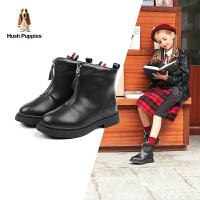 【3折价:170.7元】暇步士Hush Puppies童鞋女童靴子19秋冬新款儿童皮靴英伦风保暖时尚靴子(3-15岁可