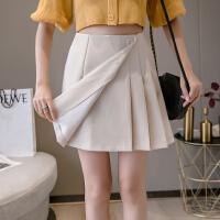 千喜步步高2021春夏新款高腰百褶修身显瘦半身a字裙不规则短裤裙子