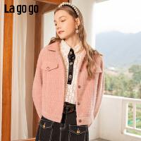 Lagogo/拉谷谷2020新款单排扣灯芯绒外套女JAWW531A50