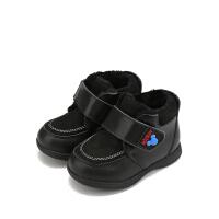 【159元任选2双】迪士尼童鞋女童冬季小靴子加绒保暖婴幼童 HS0674