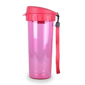 特百惠茶韵随心杯500ML塑料水杯学生便携防漏水杯 美唇红