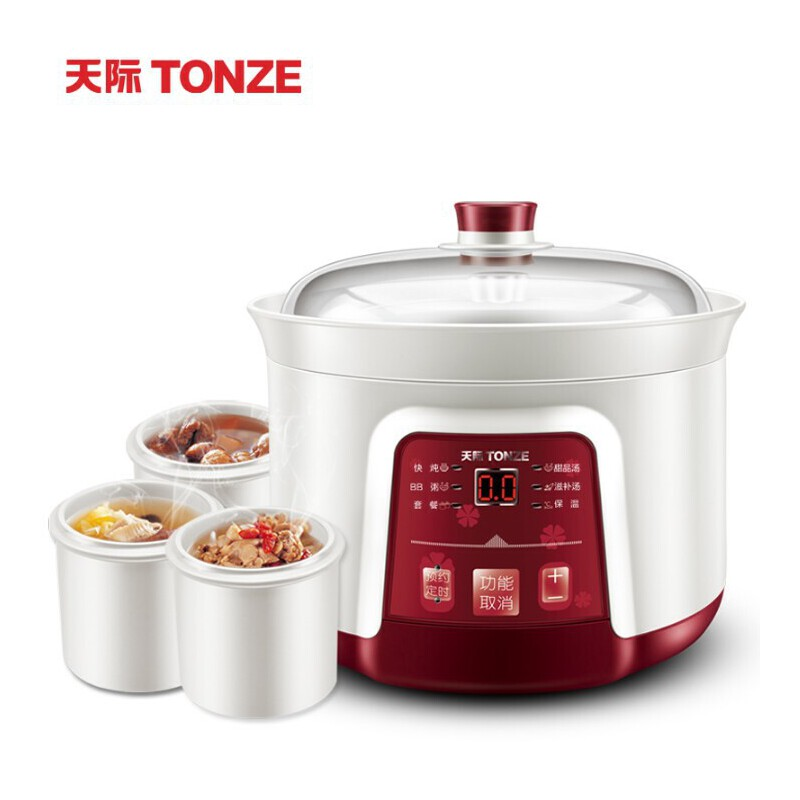 Tonze/天际 DGD22-22DWG电炖锅隔水炖盅白瓷煮粥锅全自动一锅四胆 一锅四胆 2.2升 预约定时