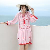 泰国沙滩裙女夏2018新款民族风女装连衣裙海边度假裙波西米亚裙子 粉色