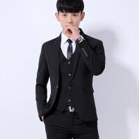 西服套装男士三件套韩版修身小西装青年职业正装伴郎新郎结婚礼服