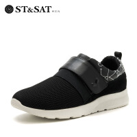 【大牌日3折】星期六男鞋(ST&SAT)牛皮革/网布魔术贴袜子鞋透气运动时尚休闲鞋 SS71128769 黑色