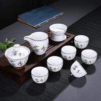 现代茶道盖碗茶碗中式功夫茶具套装家用简约陶瓷泡茶杯茶壶