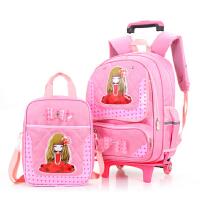 新款小学生拉杆书包女孩减负儿童书包包邮可拆卸学生小学生补习书包开学礼物开学书包 拉杆包+手提包