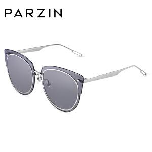 帕森太阳镜 女士渐变色透明镜片 金属猫眼大框潮墨镜2018新品7703