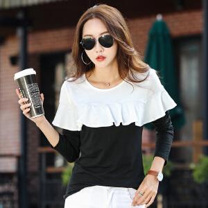 秋装新款长袖t恤女上衣韩版宽松不规则荷叶边黑白拼接打底衫女