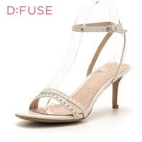 【领券减100】迪芙斯(D:FUSE)女鞋 专柜同款牛皮革细跟时尚一字式扣带凉鞋 DF82115402