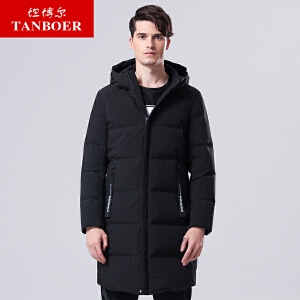 坦博尔中长款连帽羽绒服男士时尚潮流新款韩版羽绒服男士TA17673