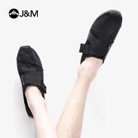 jm快乐玛丽2019春季新款魔术贴套脚休闲鞋迷彩平底帆布男鞋子