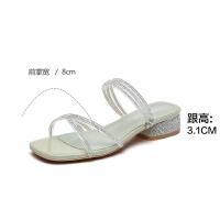 2019夏季新款【气质水晶带】时尚气质女鞋方头舒适女拖鞋外穿