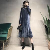 秋冬长款丝绒裙子冬季礼服裙春装洋气孕妇装连衣裙冬高腰系带长裙