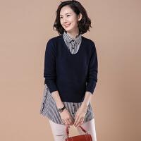 【仅限今日,下单立减50】大码条纹拼接假两件套头毛衣中长款针织衫女装2018秋装