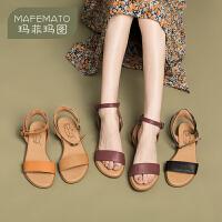 玛菲玛图2020春夏新款一字带凉鞋女时尚复古露趾鞋旅游度假罗马鞋611-191