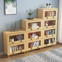 实木书柜带玻璃门简约客厅置物架落地家用卧室储物收纳柜儿童书架