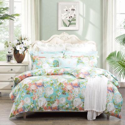 【限时秒杀】富安娜家纺 床上用品四件套纯棉全棉床单套件 印花单双人田园风