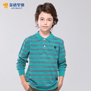 英格里奥男童长袖T恤儿童翻领纯棉体恤中大童条纹POLO衫