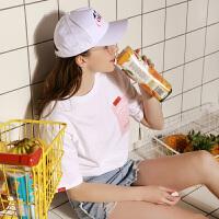 【2件1.5折】唐狮夏装新款短袖t恤女宽松韩版学生T恤女圆领套头T恤