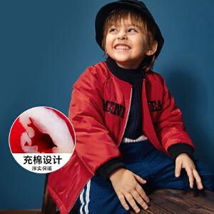 【每满199减100】迷你巴拉巴拉男童运动风棉衣冬季新品宝宝棒球领中长款棉服
