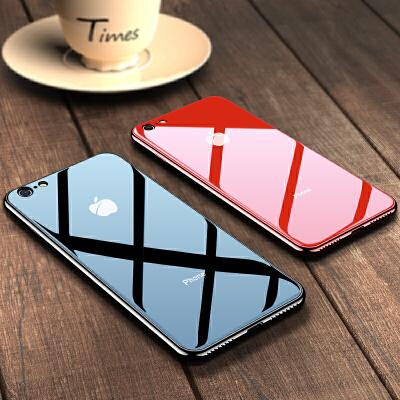 苹果6splus手机壳iphone6Plus全包防摔i6潮男女款玻璃硅胶六套6s超薄新款软潮牌6P个性创意保护puls黑色红色 秒变苹果8 送钢化膜 四角防摔