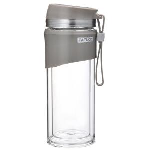 新款泰福高高硼硅炫彩双层茶隔玻璃杯 办公杯 车载杯玻璃水杯-灰色